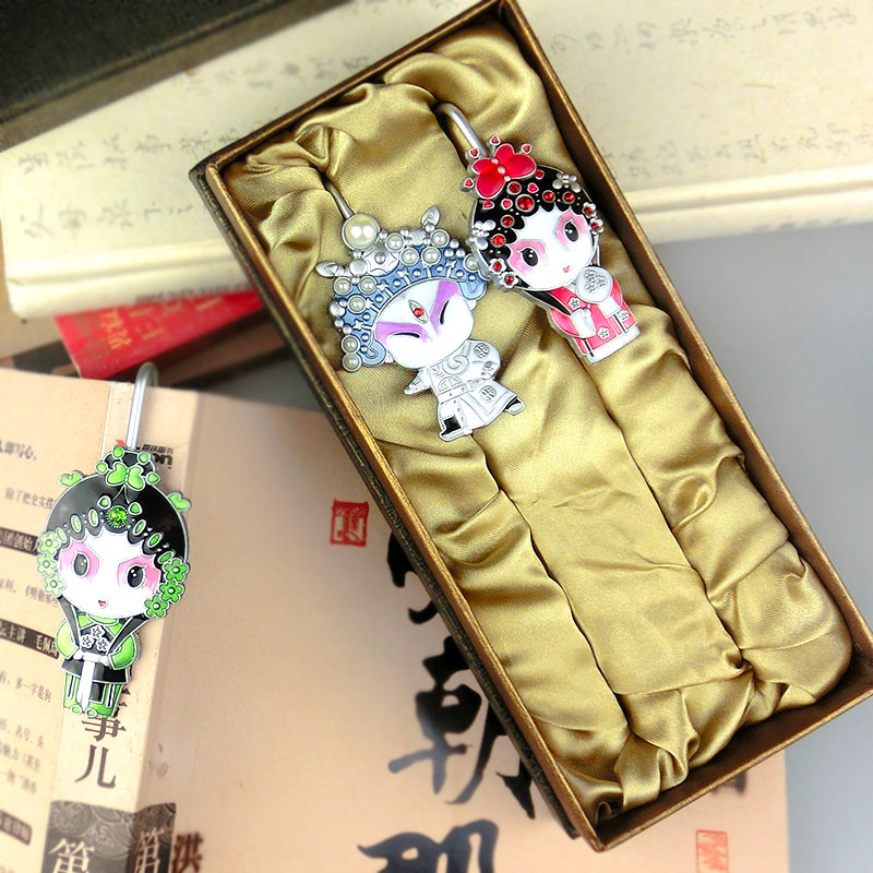 ShaoFu Cute Cartoon Peking Opera Metal Bookmarks School Office Supplies Bookmarks For Book Students Stationery Vintage Gifts in Figurines Miniatures from Home Garden
