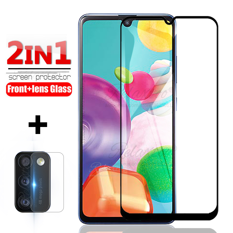 2in1 Full Cover Tempered Glass For Samsung A01 A31 A41 A015F A315F A415F Screen Protector A 01 31 41 Protective Camera Lens Glas