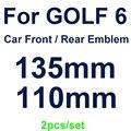 2 шт. автомобильный Стайлинг 135 мм передняя решетка Знак + 110 мм задний багажник эмблема для гольфа MK6 украшение автомобиля глянцевый черный/у...