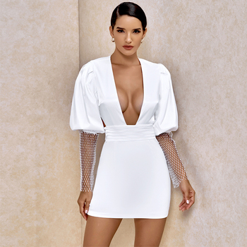 White  Dress Women Long Sleeve Bodycon New Fashion 2020 Summer Sexy Deep v Neck Backless Club Party