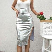 цены на Sexy Women Skirt High Waist Silver Simple Slim Skirt Split Knee-length Pencil Skirts Wild Fashion 2019 New Skirt в интернет-магазинах