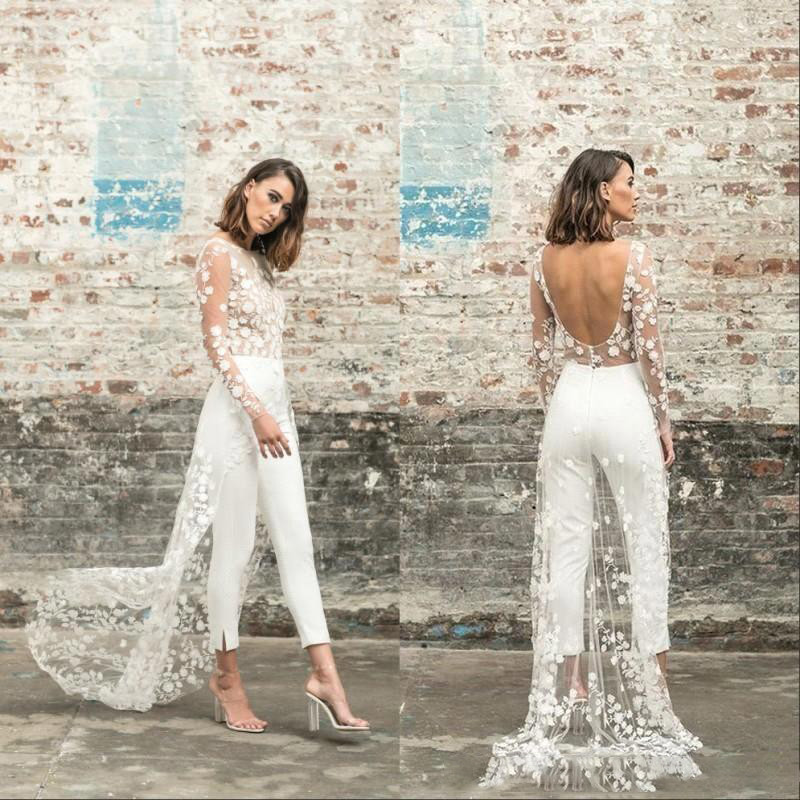 Designer Jumpsuit Wedding Dresses Sexy See Through Lace Beach Wedding Dress Bridal Gowns Long Sleeves Sexy Backless Boho Bride