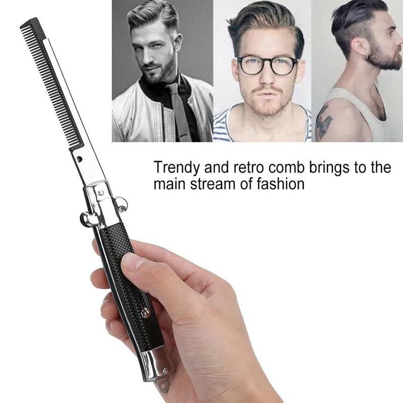 Hair Trimmer Automatic Folding Knife Comb Men Pocket Butterfly Comb Stainless Steel Spring Jump Brush Styling Portable Tools