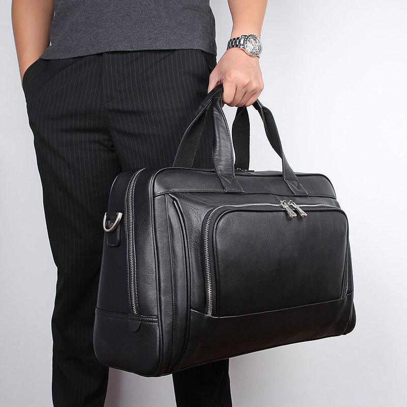 Nesitu New Big Black Nappa Genuine Leather 15.6'' 17'' Laptop Office Men Briefcase Business Travel Messenger Bag Portfolio M7408