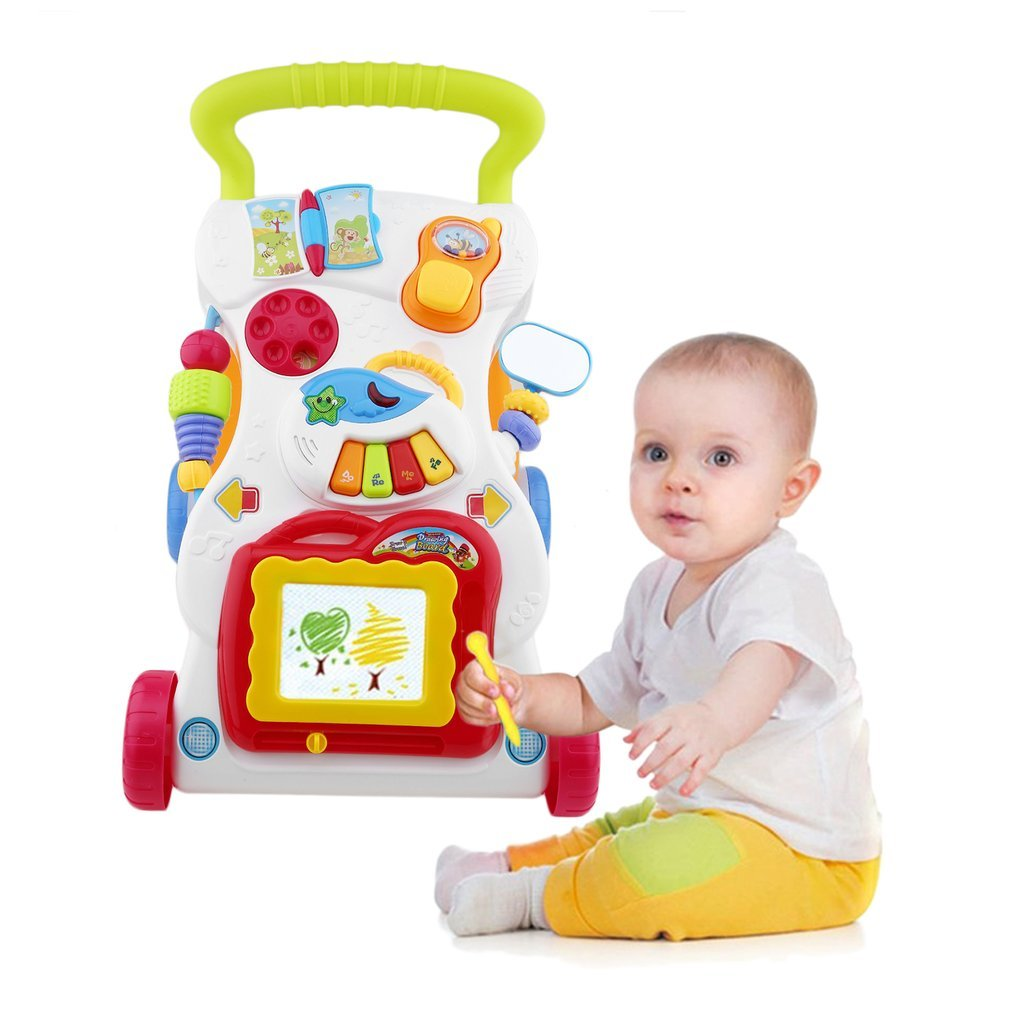 Baby Walker Multifunctional Toddler Trolley Sit-to-Stand Walker for Kid's Early Learning with Adjustable Screw
