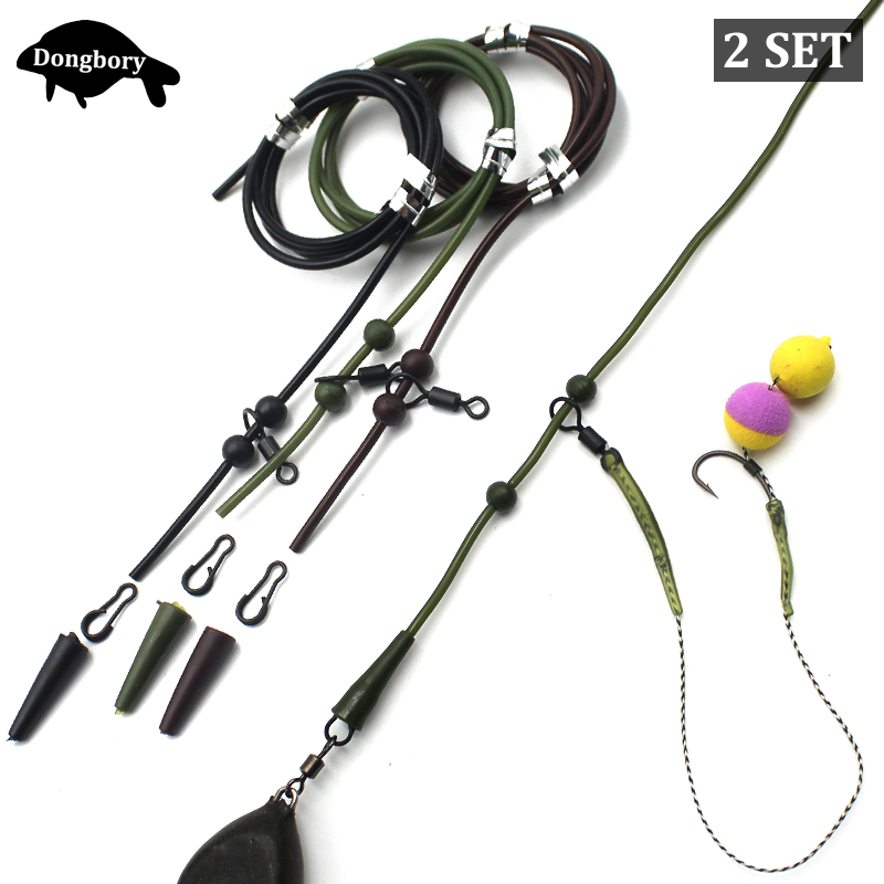 2Set=12PCS Carp Fishing Accessories Set Helicopter Rig Tubing Sleeves Tail Rubber Chod Rig Bead Chod Rig Roling Swivel Clips Kit