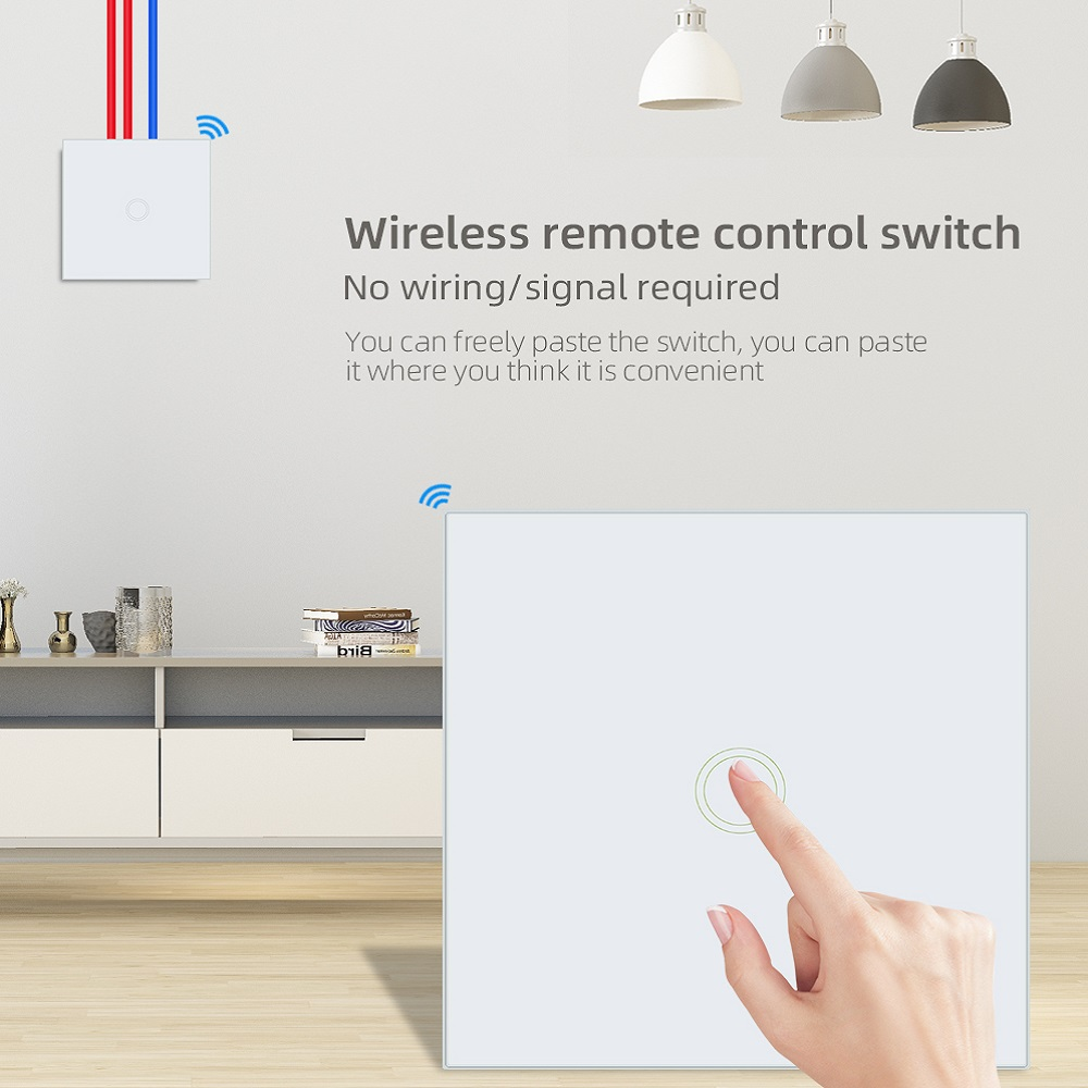86 Type TISHRIC T433 RF 433mhz Panel Wall Remote Touch Control LED Light Work With Sonoff T1/T2/T3/TX/RF/4CH PRO R2 Smart Home