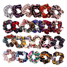 New Large Elastic Scrunchie Sweet Simple Printed stripe hair accessories Girls Fashion colorful Hair Rope Ponytail Holder