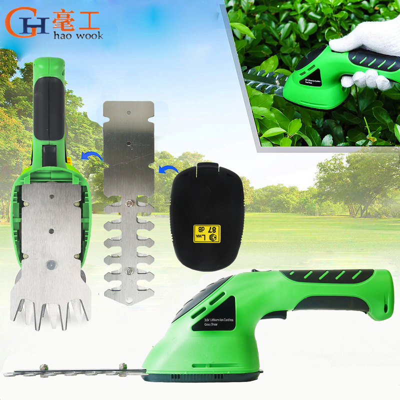 3.6V 2-in-1 Cordless Grass Shear Lithium-ion Rechargeable Hedge Grass Trimmer Shears For Lawn Mower Shrub Shear Garden Tools