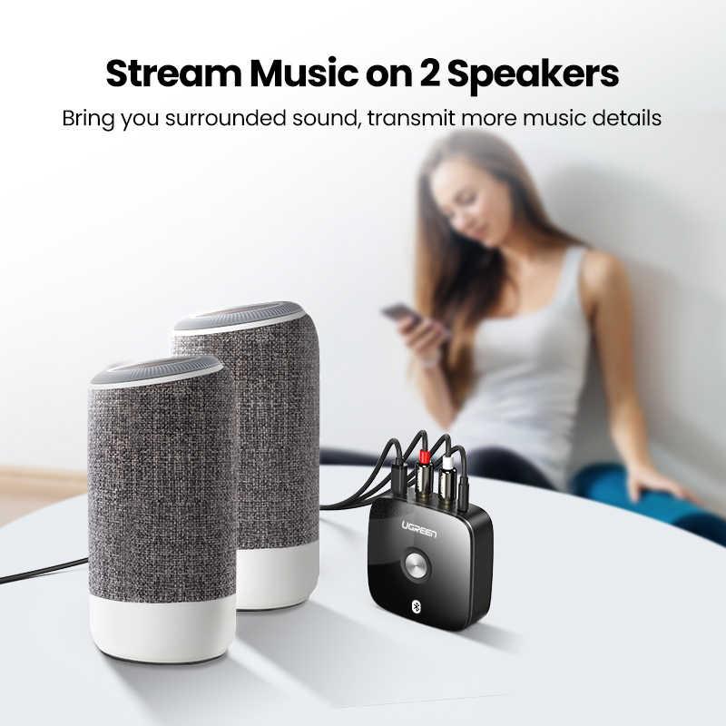 Ugreen Bluetooth RCA Receiver 5.0 aptX LL 3.5mm Jack Aux Adaptor Nirkabel Musik untuk TV Mobil RCA Bluetooth 5.0 3.5 Audio Receiver