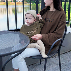 2020 children's autumn and winter parent-child long-sleeved round neck print top