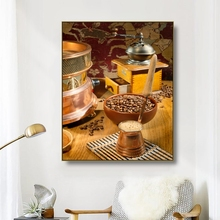 Canvas Art Painting Coffee beans Coffee machine Grind coffee Art Poster Wall Decor Colorful Home Decoration For Living room Cafe