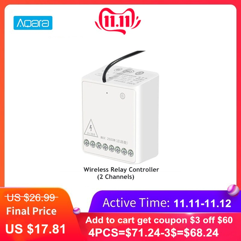 Aqara Two-way Control Module Smart Setting Timer Zigbee Wireless 2 Channels Relay Controller For Mi Home Home Kit