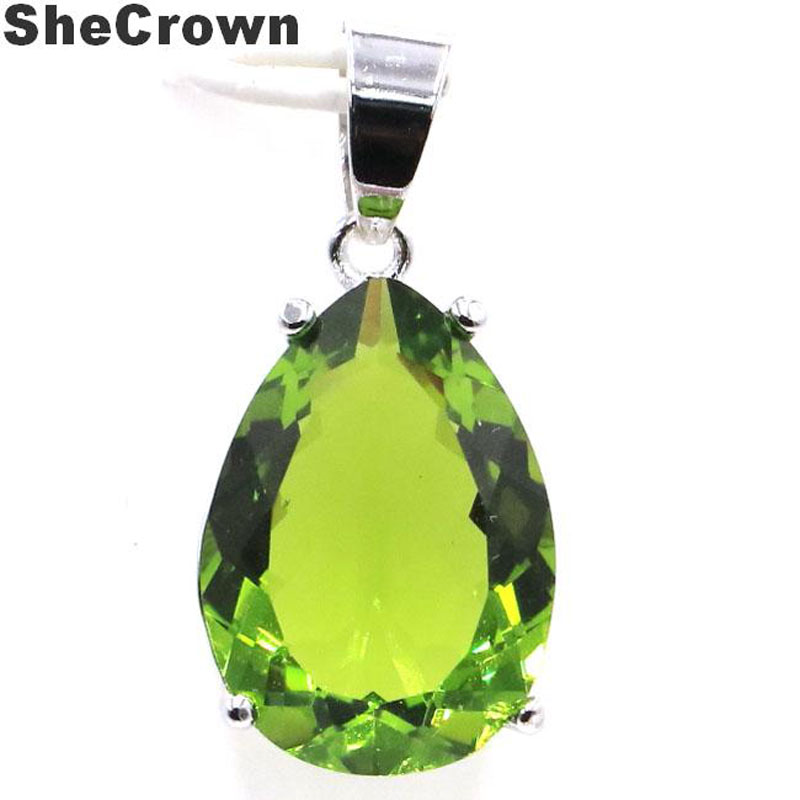 27x13mm Pretty 18x13 Drop Shape Created Green Peridot Gift For Girls Silver Pendant