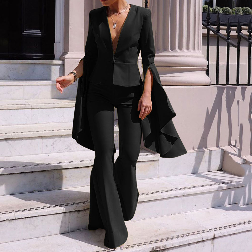 Women Two Piece Sets Autumn Sexy V Neck Causal Blazer Coat And Flare Long Pants Causal Suits Elegant OL 2 Piece Outfits