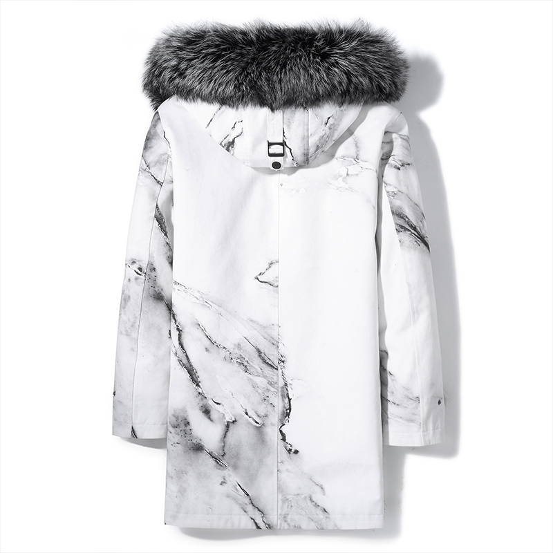 Real Fur Coat Men Rabbit Fur Liner Luxury Winter Jacket Parka Homme Fox Fur Collar Mens Real Furs Long Coat KJ1102