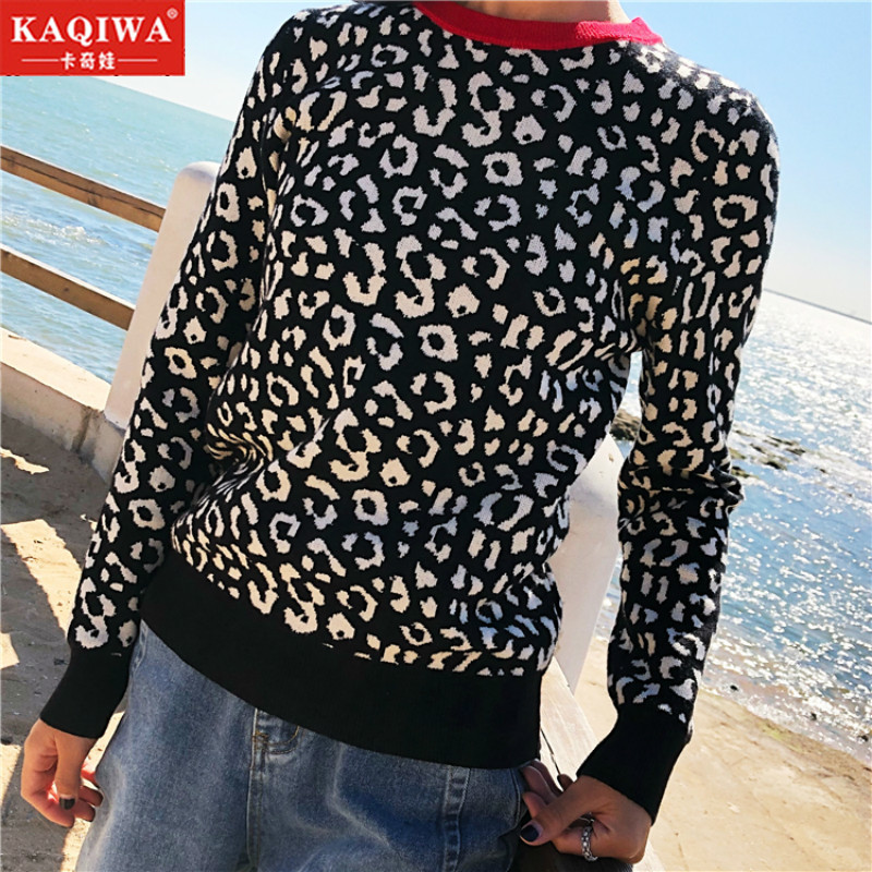 2019 Autumn Leopard Knitted Pullovers Long Sleeve Contrast Color Crewneck Jumpers Sweter Mujer Korean Top Winter Women Sweaters
