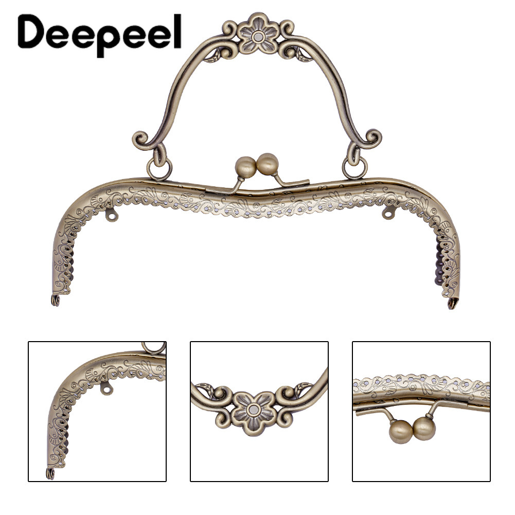 Deepeel 1/5/10pcs 20.5cm Retro Metal Bag Frame Kiss Lock Buckle Purse Frame Handle DIY Hardware Crafts Parts Accessories BF082