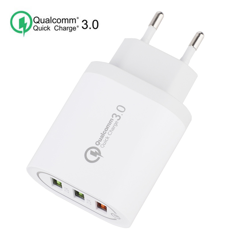 3 USB Charger QC3.0 Fast Charging Wall Charger Mobile Phone Adapter EU Plug Univeral Mobile Phone Chargers For Xiaomi