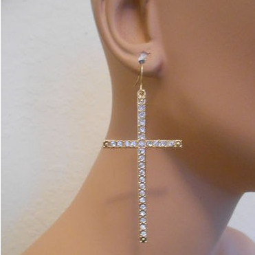 Personality Exaggeration Large Cross Earrings Gothic Style Punk Hip Hop Rhinestone Dangle Earrings Jewelry for Women