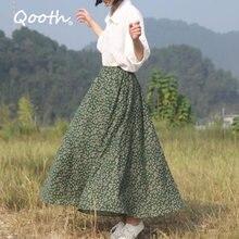 Midi Skirt Linen Floral-Printed Vintage Women Summer Big Qooth QT085 Hem Female Autumn