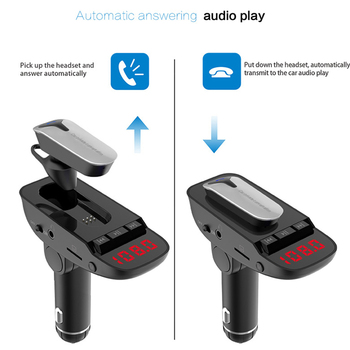 ER9 car Bluetooth kit handsfree FM transmitter wireless Bluetooth headset can detect battery voltage car charger with headphones 4