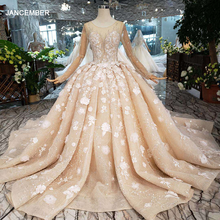 HTL256G Handwork flowers wedding dresses 2020 o neck long sleeves beads illusion back luxury ball gown wedding gowns with train