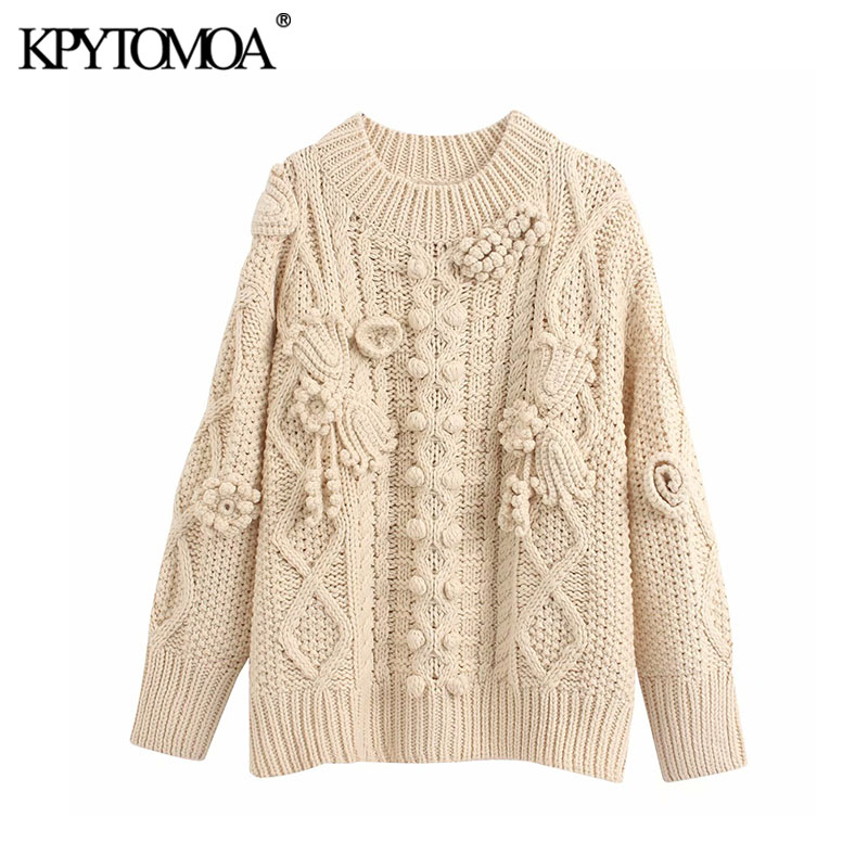 Vintage Stylish Oversized Crocheted Knitted Sweater Women 2020 Fashion O Neck Long Sleeve Female Pullovers Chic Tops
