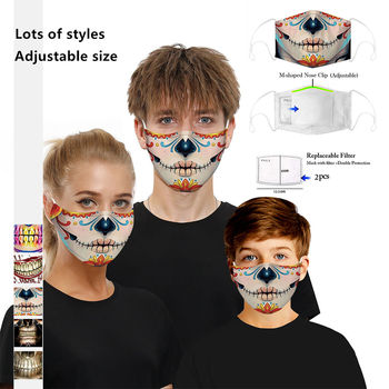1 Mask + 2 Filter Anti Dust Face Mouth Mask Reusable Breathable 3D Printed Protective Adult Children Cute PM2.5 Face Mask