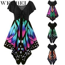 WEPBEL Women Dress Butterfly Print Lace Up Short Sleeve V Neck Midi Dre