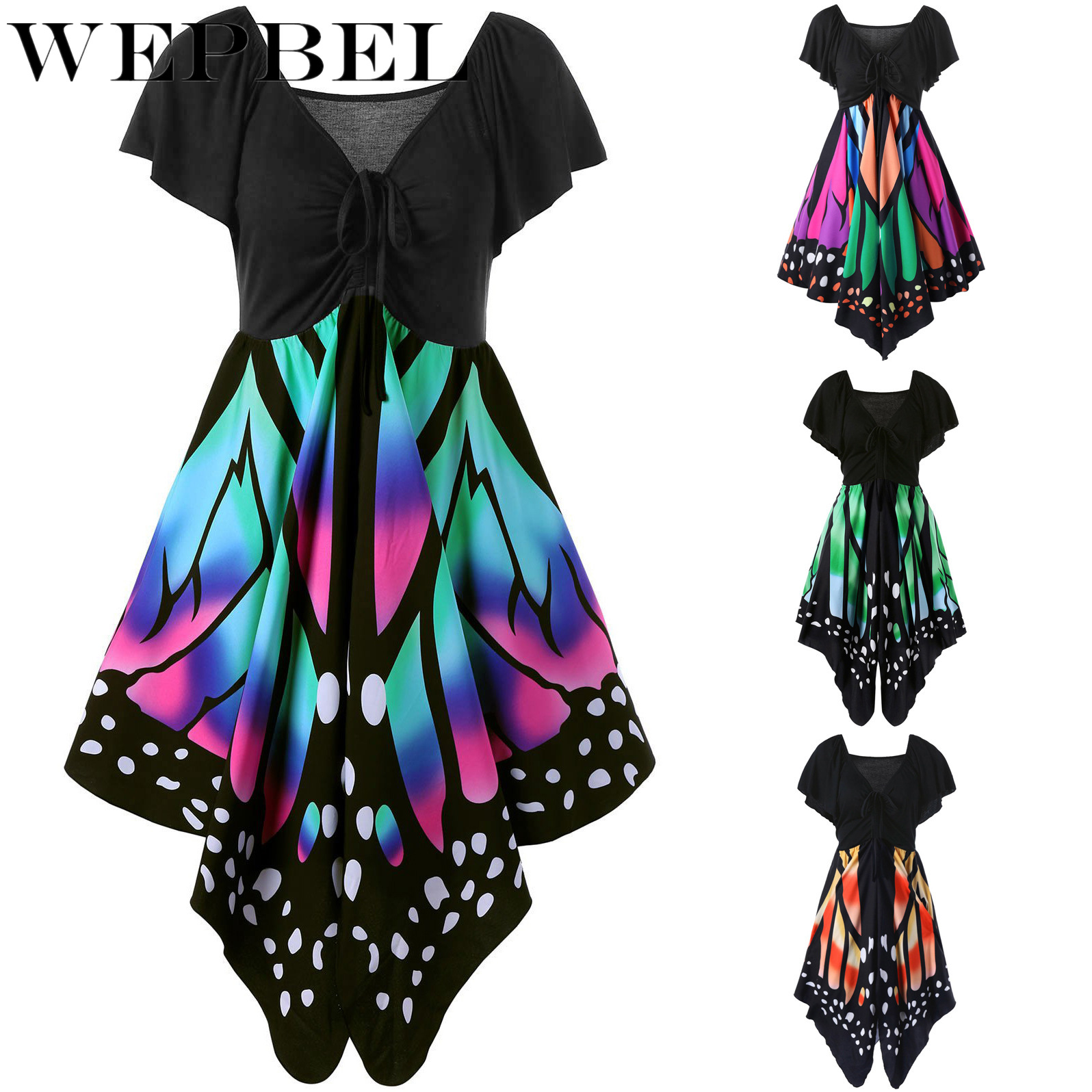 WEPBEL Women Dress Butterfly Print Lace Up Short Sleeve V Neck Midi Dresses Fashion Casual Vestidos