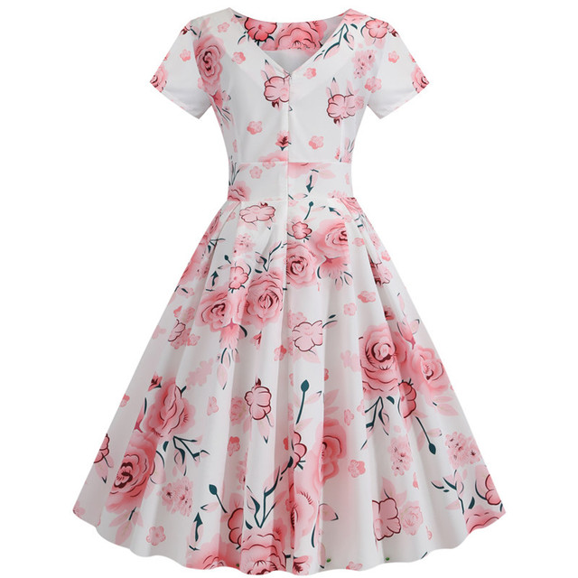 Summer Floral Print Elegant A-line Party Dress Women Slim White Short Sleeve Swing Pin up Vintage Dresses Plus Size Robe Femme 187