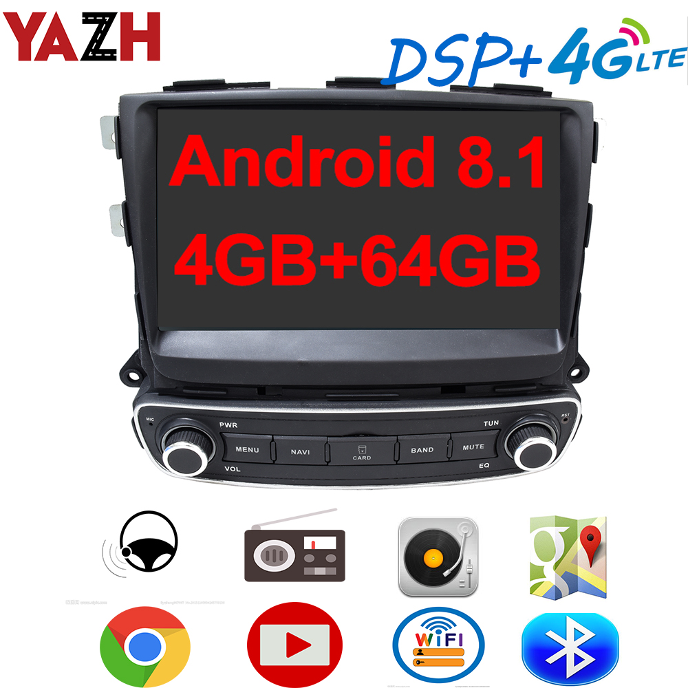 YAZH Car Android 8.1 Auto Radio Multimedia Player For Kia Sorento 2013 2014 2015 With 9.0 IPS GPS 4GB 64GB DSP 4G SIM Card SWC image