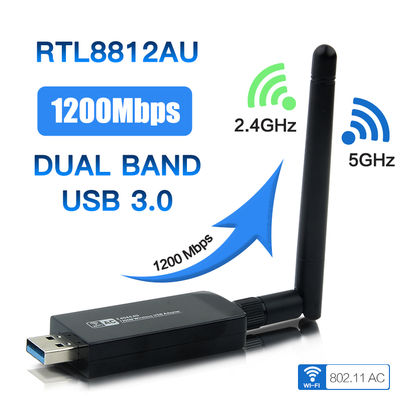 Dual Band 1200Mbps <font><b>USB</b></font> 3.0 RTL8812AU Wireless AC1200 Wlan <font><b>USB</b></font> Wifi Lan <font><b>Adapter</b></font> Dongle <font><b>802.11ac</b></font> With Antenna For Laptop Desktop image