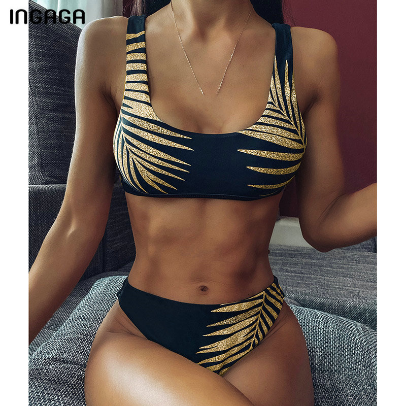 INGAGA Push Up Bikini Set Swimwear Women High Waist Swimsuit 2020 High Cut Biquini Beachwear Summer Bathers Bathing Suit Women