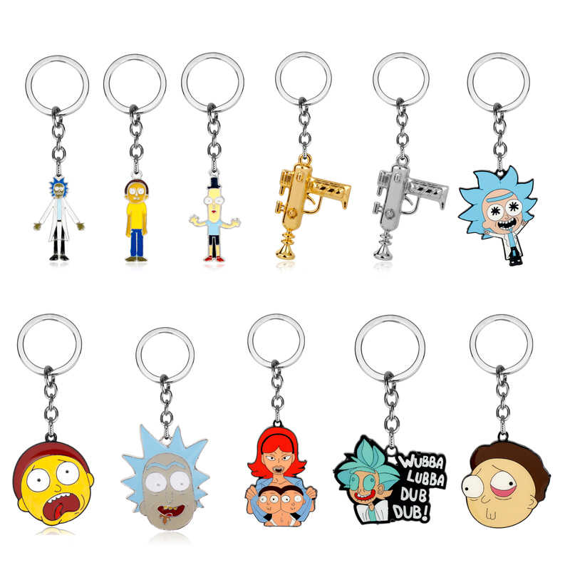 American Drama Funny Rick And Morty Keychain Action Figure Collection Model Toy pendant rick morty keychain Jewelry Gift For Man