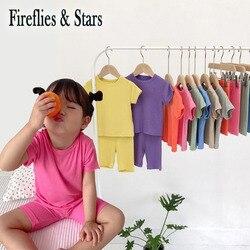Meninas do verão 2 pçs conjunto bebê biker camisa + shorts crianças terno conjuntos de frio da criança roupas para casa casuais macio 1 a 7 anos