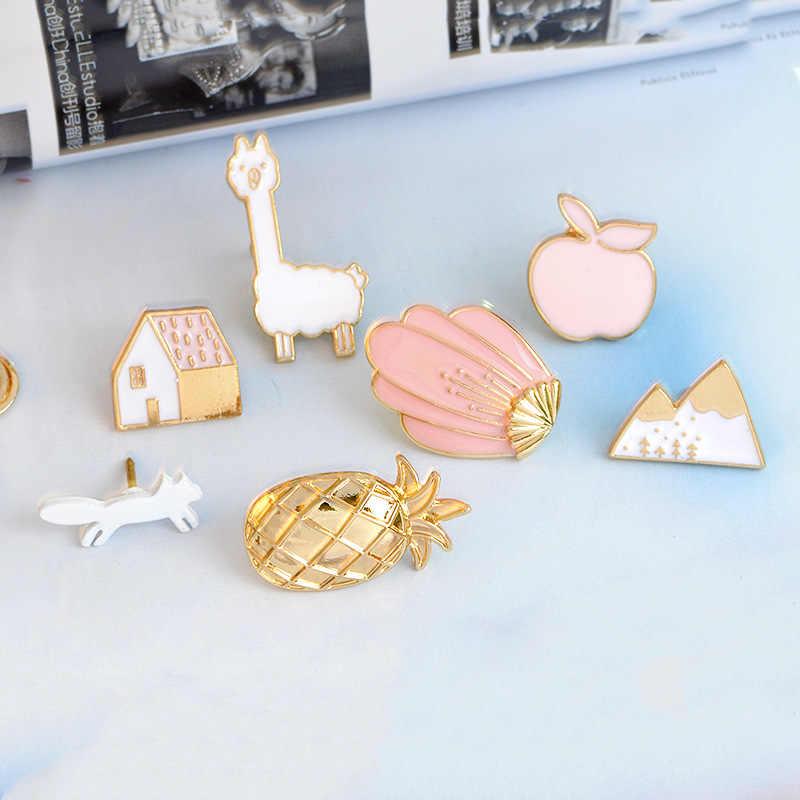 Japan en Korea Fashion Sweet Kleur Shell Huis Pin apple Mountain apple Alpaca Vos Meisjes Broches Shirt Jas Jeans Ornament