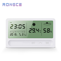 Digitale Indoor Hygrometer Thermometer Nauwkeurige Temperatuur Digitale Vochtigheid Meter Met Datum/Tijd Wekker In Slaapkamer
