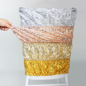 цена на 1pc High Quality Sequin Chair Sashes Wedding Chair Decoration Stretched Chairs Bow Tie Band Belt Ties Hotel Banquet Supplies