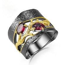 RongXing pequeño óvalo Rosa rojo circón Vintage anillos negros para mujeres S925 plata chapado en oro CZ piedra anillo mujer Boho joyería regalo