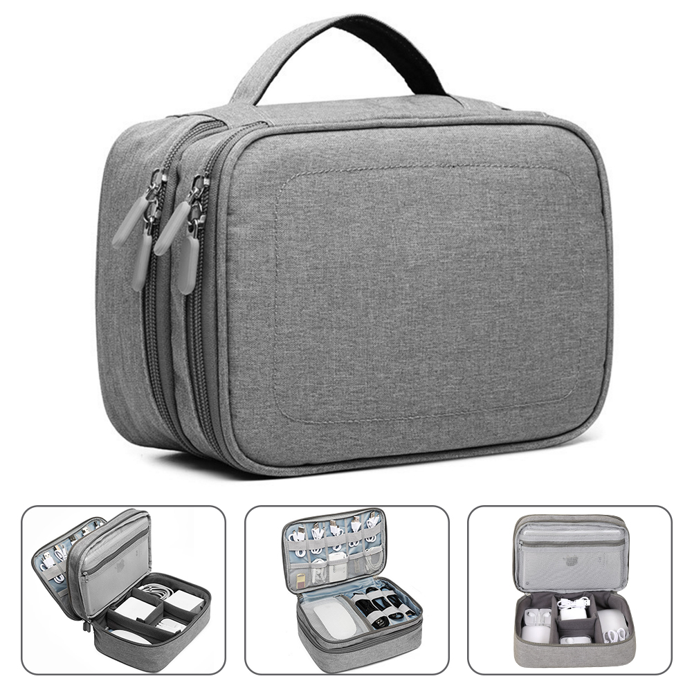 Handle Travel Electronic Accessories Multipurpose Organizer Storage Bag Case for Power Bank Hard Drive Smart Phone Charger