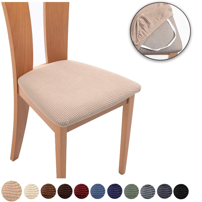 Spandex Jacquard Dining Room Chair Seat Covers Removable Washable Elastic Cushion Covers for Upholstered Dining Chair