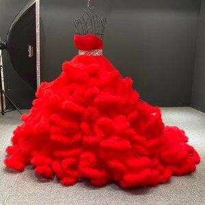 Image 3 - J6662 Jancember מרובה צבע שמלת ערב 2020 sashes מתוקה עם שרוולים קריסטל לפרוע תחרה עד בחזרה