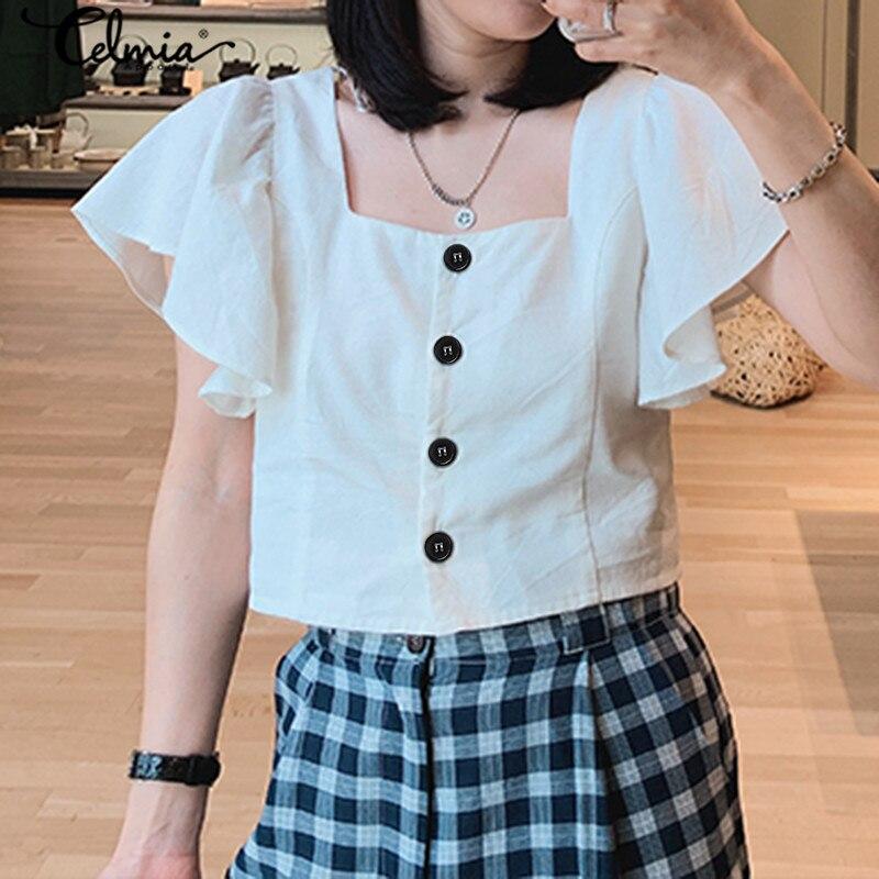 Vintage Casual Square Neck Tunic Tops Women 2020 Celmia Summer Solid Ruffles Blouses and Shirt Plus Size Ladies Elegant Blusas 7