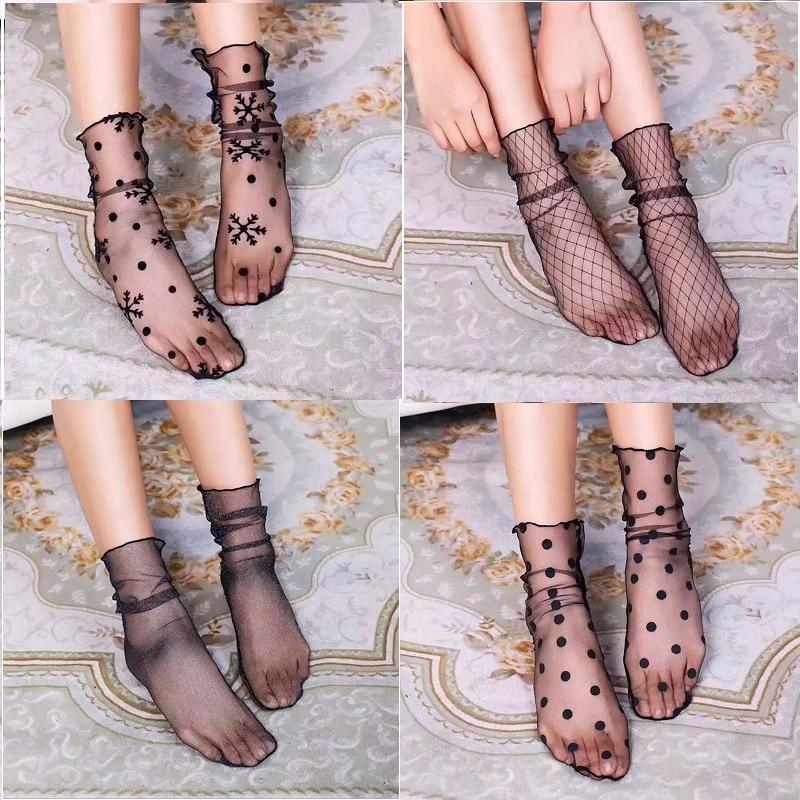 Female Short Socks Women's Socks Thin Crystal Transparent Silk Socks Girl Ankle Sox Sexy Fishnet Mesh Sock For Girls Lady