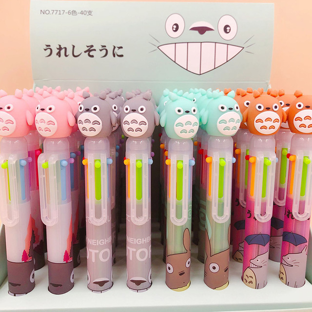 1PC 6 Colors In 1 Ballpoint Pens Cute Totoro Pens Kawaii Multicolor Ball Pens For Kids Gift School Office Supplies Stationery 4