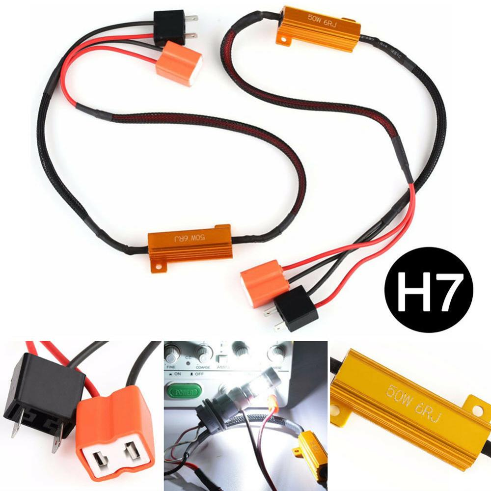 2pcs H7 50W 6Ω Car LED Canbus Load Resistor Controller Warning Canceler LED Decoder Light Error Free 12V Resistance