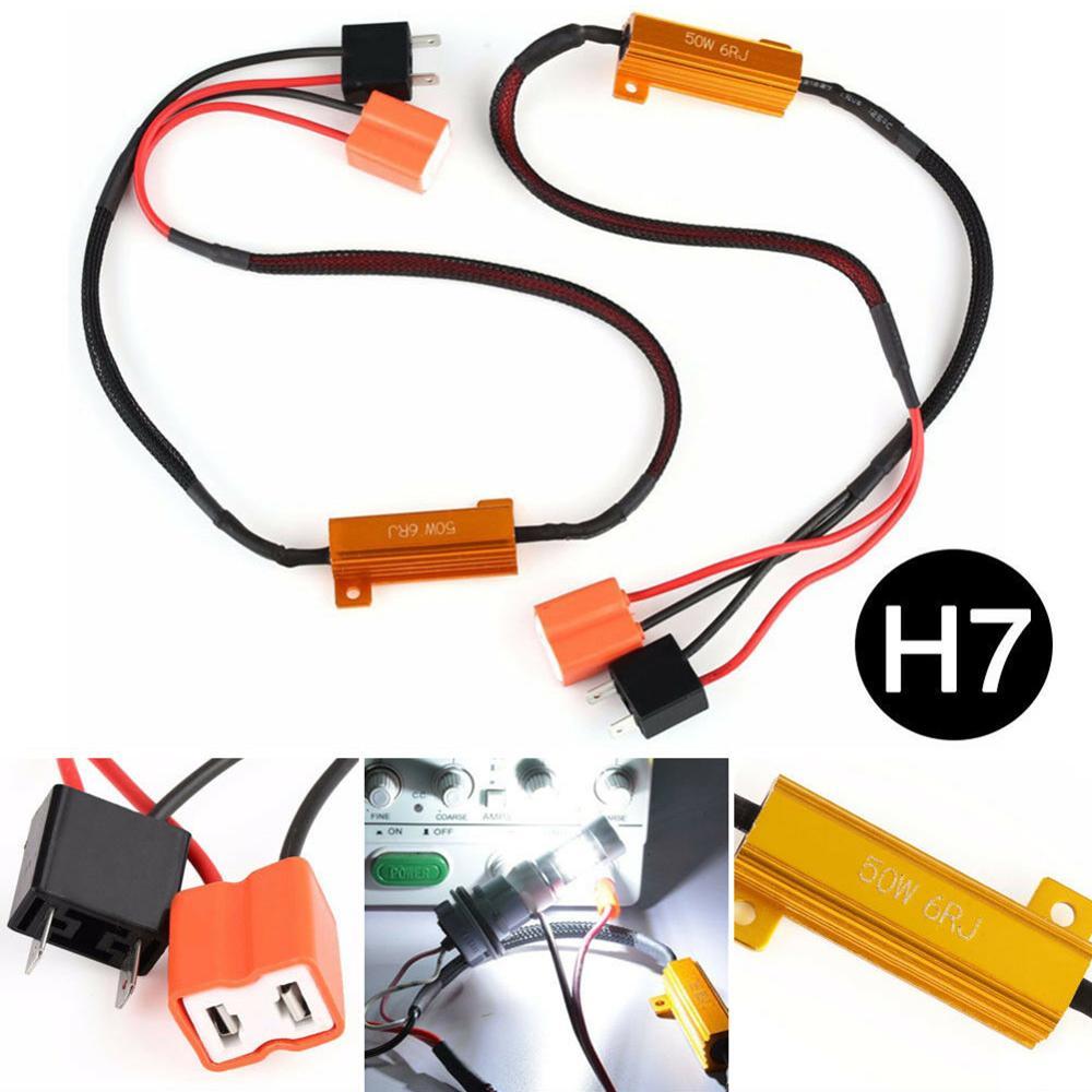 2pcs H7 50W 6Ω LED รถ CANbus โหลด RESISTOR Controller คำเตือน Canceler ถอดรหัส LED Light ข้อผิดพลาดฟรี 12V ความต้านทาน