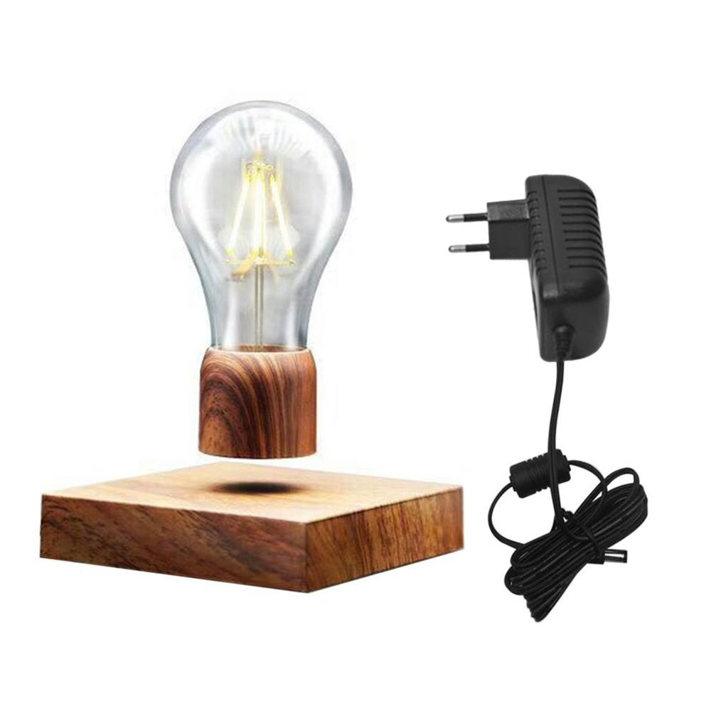 Hot Sales Magnetic Levitating Light Bulb Desk Wood Grain Floating Lamp Unique Gift Home Office Room Small Night Light Decoration